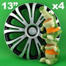 """Hubcaps 13"""" Avera 4 x Wheel Trim Cover BLACK+SILVER for ROVER 200 SEAT Ibiza"""