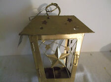 """Candle Holder Stars Tin Lantern Gold Color StarCuts Outs 8 """" Tall For Tea Candle"""