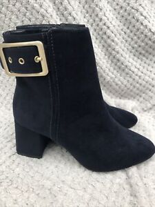 M&S Navy Blue Faux Suede Block Heel Buckle Ankle Boots UK 6.5 Wide Fit BNWT NEW