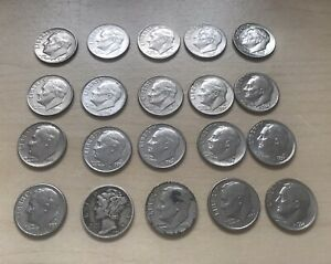 Collection of 20 One Dime Coins 1944 Liberty Dime - 2006 One Dime Coin USA US