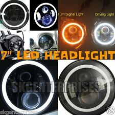 "70WATT 7"" WHITE + AMBER DRL CREE BIKE LED Headlight Thunderbird Enfield Classic"