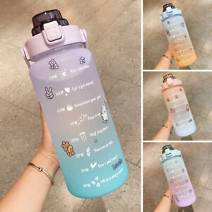 2L Motivational Water Bottle with Time Marker Large Gradient Straw Sports Jugs