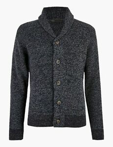 BNWT M&S Mens Gents blue/grey chunky shawl neck button cardigan with wool M L