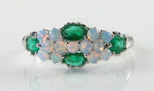 9k 9CT WHITE GOLD COLOMBIAN EMERALD OPAL ART DECO INS CLUSTER RING FREE RESIZE