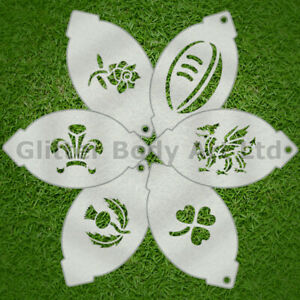 Rugby Face Paint Stencil 6 Pack Rugby Nations Designs, England, Ireland, Wales