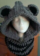 Raccoon  Crochet hooded cowl, crochet hat, beanie, hooded scarf