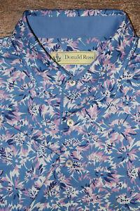 WOW Donald Ross Men Large Golf Polo Shirt Bold Floral Print Performance EUC B36