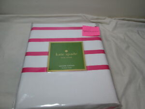 "New Kate Spade HARBOUR STRIPE Shower Curtain 72""x72"" ~ Pink and White NIP"