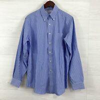Brooks Brothers SZ 15.5 34/35 Non Iron Cotton Blue White Striped Dress Shirt Men