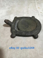 Collect Vintage old Chinese bronze Hand-carved  Tortoise Inkstone Yantai S01