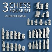 3d stl model cnc router artcam aspire 3 set of chess