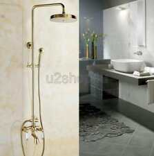 Wall Mounted Golden Bathroom Rainfall Shower Faucet with Hand Sprayer Tub Spout