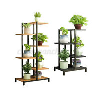 Retro Plant Stand Flower Rack Metal Wooden Shelf Outdoor Indoor Garden