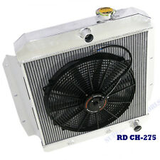"3 Core Performance Radiator+16"" Fan fits 55-59 Chevy Truch 3.8L/ 6.1L l6/ V8 OHV"