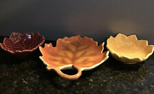 Olfaire and Other Fall Art Pottery Leaf Dish Bowl Bundle Set Yellow, Red, Orange