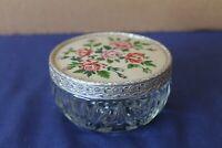 "Vintage circular glass trinket pot with metal lid ""roses"" design"