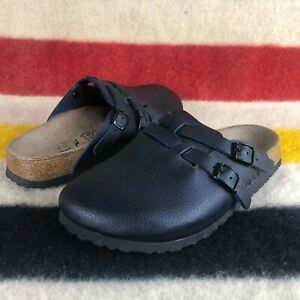 Birkis by Birkenstock Kay Black Leather 2 Strap Clogs Sz 7 38 Birkenstock D072