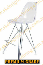 SKDL | Replica Eames DSR Eiffel Bar Stool | CHROME LEGS | CLEAR Seat