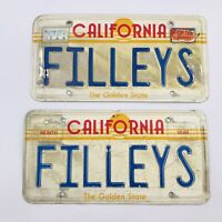 Two (2) California The Golden State Vanity License Plate Personalized FILLEYS