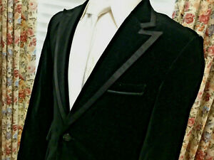 Sharp Black Velvet Wedding Steampunk Rocker Peak Lapel Tux Sport Coat Jacket M