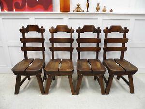 Vintage Retro Oak BRUTALIST DUTCH heavy oak Highback chairs 1970s design