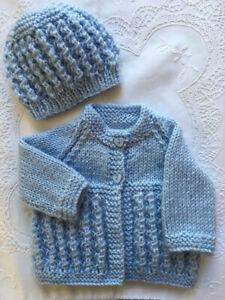* Premature * 2 Piece Baby/Dolls Jacket Set * Blue * Aust Hand Knitted