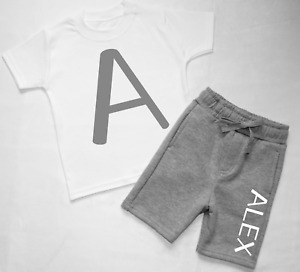 Personalised Name and Initial Toddler Tracksuit Kids Shorts Suit Set
