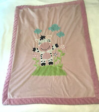 Little Miracles Pink Zebra Floral Flower Baby Blanket Sherpa Security Bumpy Trim