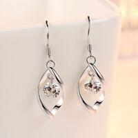 Leaf Drop Dangle Swirl Hook Long Earrings 925 Sterling Silver Womens Jewellery