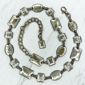 """Silver Tone Faith Hope Happiness Belly Body Chain Belt One Size 34""""-42"""""""
