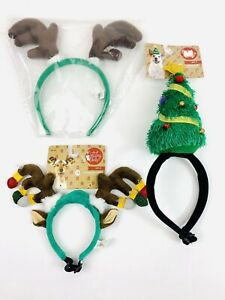 """(LOT of 3) Holiday Tails """"DOG ANTLERS"""" & """"CHRISTMAS TREE HEADPIECE"""" NOS"""