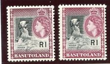Basutoland 1961 QEII 1r in the two listed shades superb MNH. SG 79, 79a.