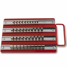 "40pc Socket Tray Rail Storage Rack Store & Organize Tools 1/2"" 1/4"" 3/8"" Clips"