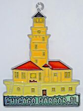 """Chicago Harbor Lighthouse ~ Suncatcher with Stained Glass/Acrylic/Metal 5"""" New"""