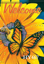 """Large Garden Flag 28"""" x 40"""" Welcome House Decor Flags Butterfly Decorative Hy467"""