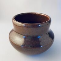 Studio Art Pottery Vase Artisan Handmade Wheel Thrown Brown Shino Glaze