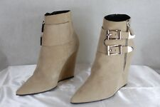 BARBARA BUI MADE IN ITALY BEIGE NUDE SUEDE  PUNKY WEDGE ANKLE BOOTS EU 40 US 9