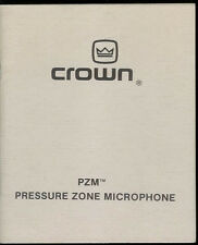 Rare Vintage 1980 Crown PZM Pressure Zone Microphone Owner's Instruction Manual