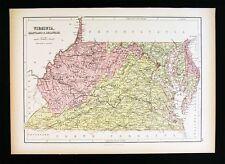 1879 Black Atlas Map - Virginia Maryland Delware Washington DC West VA Richmond
