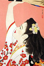 Playing Battledore 15x22 Japanese Print by Tatsumi Asian Art Japan