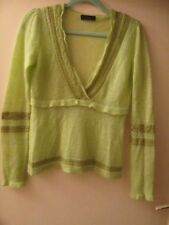 Lindgrüner Damen Pullover tiefer V-Ausschnitt  Rüschen  Vero Moda  Gr. M