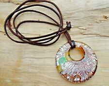 Lampwork Glass Large Disc Gold/Silver/Green/Yellow Pendant & Long Leather Cord