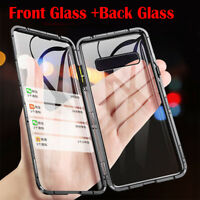 For Samsung Galaxy S10 S9 Note 10 Plus Magnetic Front Tempered Glass Cover Case