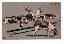 Animal CHIEN Chiens DOG dogs 36 chiens de chasse la meute au chenil Cpa illust.