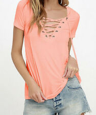 New Summer Women's V Neck Lace Up T-Shirt Short Sleeve Loose Tops Casual Blouse
