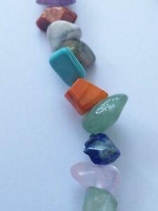 Chakra style Stone Chip Bracelet Natural Multi Colour Crystal Gemstones handmade