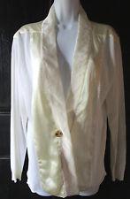 Lanvin Summer 2006 Ivory Cotton Silk One Button Thin knit Cardigan Sz L