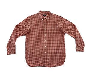 Polo Ralph Lauren Orange Check Button Down Shirt Men's Large Long Sleeve