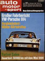 Auto Motor und Sport Poster 22/69 25.10.69 1969 Replica VW-Porsche 914 Klassik