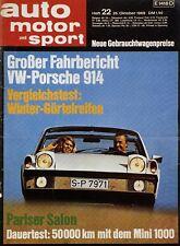 Poster Auto Motor und Sport 22/69 25.10.69 1969 Replica VW-Porsche 914 Klassik